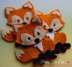 Felt Foxes Die Cut Craft Embellishments by PrettyDieCuts on Etsy