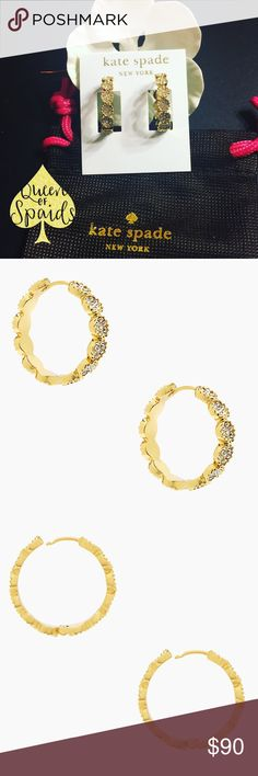 "Kate Spade Gatsby Dot Hoops Genuine Kate Spade Gatsby Dot Hoops.   ♠️12-karat gold plated metal ♠️ Glass stones.  ♠️14-karat gold filled posts ♠️1"" x 1"",  ♠️ Weight: 8.5 grams  CLOSET RULES ♠️ I do not trade ♠️ I do not conduct any transactions off Poshmark ♠️ If I receive an offer for more than 35% off, I will immediately decline.  ♠️ No asking ""lowest?"" kate spade Jewelry Earrings"