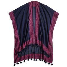 Lucky Brand Aztec Mono Kimono ($80) ❤ liked on Polyvore featuring intimates, robes, navy, navy robe and kimono robe