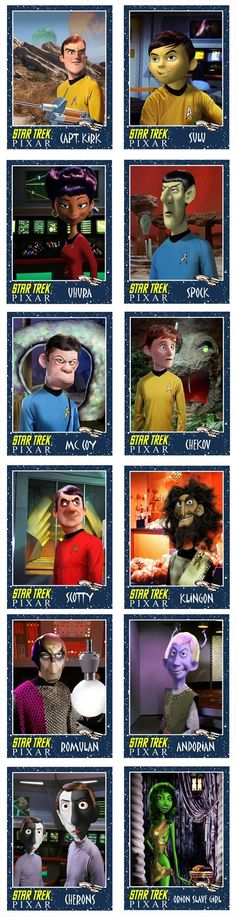 These are great, but I am not a fan of Sulu's Pixar transformation. And I DO NOT want Disney to buy Star Trek. Star Wars, Star Trek Ships, Star Trek Tos, Disney Pixar, Disney Memes, Geeks, Akira, Science Fiction, Star Trek