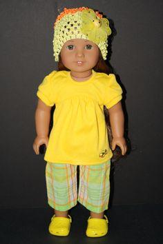 Plaid Capri Pants With Long Yellow T-Shirt for American Girl Doll $15.00