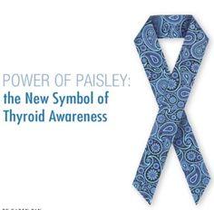 Graves Disease awareness month | Thyroid awareness Paisley ribbon.