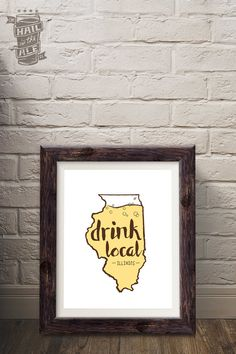 Choose Your State: Drink Local Beer Poster; Beer Art, Home Decor, Art Print, Beer Sayings, Printed Poster, Craft Beer, Beer Fan, State Pride