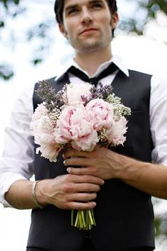 Pretty peony bouquet.... but who's looking at the bouquet in this photo?! :-)  Styled & Photographed by Diana Lupu