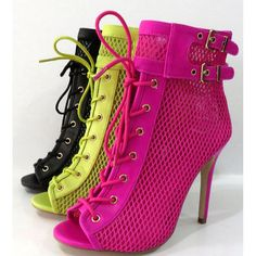 ANEE MICHELLE RAPTURE-93 Women's Peep Toe Lace up Side Zipper Ankle Booties #ANEEMICHELLE #OpenToe