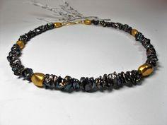 Perlenketten - Zuchtperl Collier Keshi grau - ein Designerstück von schmuckbewusst-woman bei DaWanda