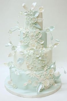 Omg.com !!!! Absolutely Stunning!! Baby Blue wedding cake  ~ all edible and I'm in Love  With This Cake!  Perfection Personified!!!