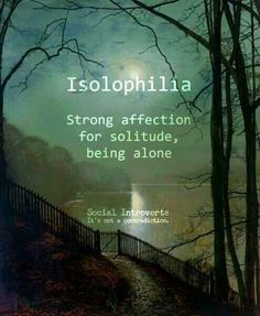 """Isolophilia (n): Strong affection for solitude, being alone preferable, social introvert, """"I have seen Susan around town in while. Maybe her boyfriend's isolophilia has something to do with it. Unusual Words, Weird Words, Rare Words, Unique Words, New Words, Cool Words, Interesting Words, Pretty Words, Beautiful Words"""