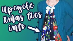 Upcycle some tacky Christmas ties and a sweater from the thrift store into a fun and festive Christmas tie tree sweater. It's a perfect project for the holiday season to add something festive for your wardrobe!  All you need is a sweater from the thrift store, some tacky Christmas ties, ribbons & buttons, as well as some basic sewing skills and you will be able to pull all this sweater off. Christmas Ties, Tacky Christmas, Basic Sewing, Sewing Basics, All You Need Is, Ribbons, Thrifting, Festive, Upcycle