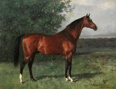"""Emil Volkers, 1831-1905, Pferdeportrat in Landschaft (""""Horse Portrait in Landschaft""""), 1905."""
