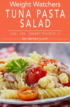 Weight Watchers Spicy Tuna Pasta Salad Recipe with bell pepper, cherry tomatoes, celery, salsa, mayonnaise, red pepper, and scallions. A low calorie and low fat meal. #pastasalad #tuna #weightwatchers #recipes #dinner #sidedish #wwfreestyle #slenderberry #lowcalorie #lowfat Tuna Salad Pasta, Pasta Salad Recipes, Cooking Recipes, Healthy Recipes, Healthy Food, Weightwatchers Recipes, Bell Pepper, Weight Watchers Meals, Mayonnaise