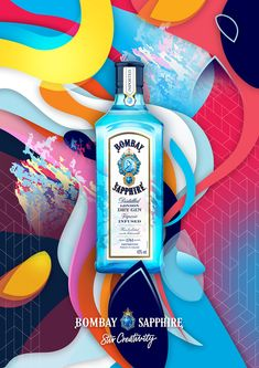 Bombay Sapphire Stir Creativity Poster by LG Label Design, Branding Design, Bombay Sapphire, Packaging, Spray Can, Graphic Design Posters, Liquor, Food Posters, Masters