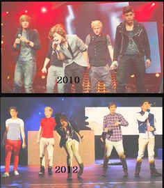 One Direction in 2010 on the X Factor  and in 2012 on tour