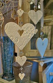 handmade heart decorations (salt dough, then strun. - handmade heart decorations (salt dough, then strun. Salt Dough Projects, Salt Dough Crafts, Salt Dough Ornaments, Clay Ornaments, Clay Projects, Homemade Ornaments, Valentine Crafts, Crafts To Make, Christmas Crafts