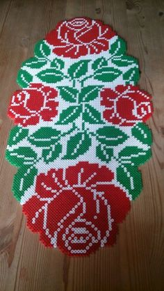 Rose table runner hama perler beads by Susanne Damgård Sørensen
