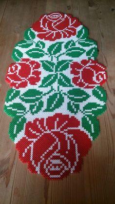 Rose table runner hama perler beads by Susanne Damgård Sørensen