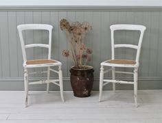 Pair Of Distressed Cane Seated Chairs - For Sale | Distressed But Not Forsaken