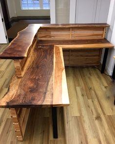 Furniture Live Edge Wooden Desks Thredup Custom Reception Of With Rustic Desk Images