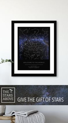 Unique beautiful custom star map, great gift for any occasion, Capture the night sky above that special moment Unique Housewarming Gifts, Personalised Gifts Unique, Personalized Anniversary Gifts, Housewarming Party, Sentimental Gifts, Customized Gifts, Constellation Map, Unique Christmas Gifts, Childrens Room Decor