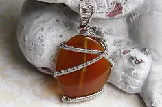 Silver and Amber Pendant, Silver Wire Wrapped Amber Agate Pendant, Unisex Wire Wrapped Pendant by FairyJewelryBox on Etsy