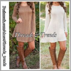 "Cable Knit Sweater Dress So cute & fashionable, cable knit sweater dress in White or mocha. Wear as a dress or pair with leggings. Made of knitted cotton. Size M, L  Size Medium Bust 35"" Length 32"" Size Large  Bust 39"" Length 33"" Threads & Trends Dresses"