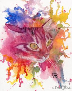 """This is Oz. He was a very lively and colorful kitty. Reproduction of an original art piece. Background was created with  watercolor and the rest done with a watercolor under-layer and colored  pencils over that for details.  Available sizes: - 8x10"""" (paper size: 8.5"""" x 11"""") - 12x16"""" (paper size: 13""""x19"""")"""