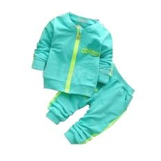 Toddler Bodysuits Products for Children Sport Spring top w/zipper and Pants(Blue)