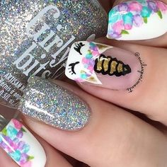 Nails for kids Floral nails are perfect for the spring and this design is easier than it looks. Floral nails are perfect for the spring and this design is easier than it looks. Click above for 39 more easy spring nail art. Unicorn Nails Designs, Unicorn Nail Art, Cute Acrylic Nails, Acrylic Nail Designs, Acrylic Spring Nails, Dance Nails, Pink Gel, Nail Art For Kids, Kid Nail Art