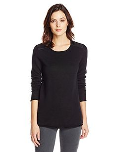 Calvin Klein Jeans Women's Perforated Pu Sleeve Sweater, Black, Large