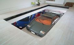 Toyko House Features Car Elevator, In the Living Room