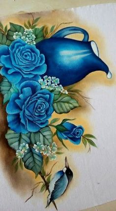 Pintura em Tecido: 75 Modelos de Flores + Riscos Grátis Tole Painting, Fabric Painting, Painting & Drawing, Border Embroidery Designs, Free Machine Embroidery Designs, Decoupage Vintage, Butterfly Art, Flower Art, Fabric Paint Designs