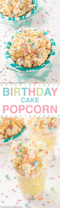 Make this delicious birthday treat with popcorn from Lisa's Passion for Popcorn OR come by the shop and taste our Birthday Cake chocolate flavor! The BEST Birthday Cake Popcorn (birthday cake cookies funfetti) Birthday Cake Popcorn, Cool Birthday Cakes, Birthday Treats, 15th Birthday Cakes, Birthday Celebration, Girl Birthday, Just Desserts, Delicious Desserts, Yummy Food