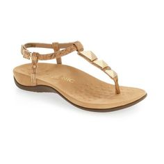 Women's Vionic Nala T-Strap Sandal (325 BRL) ❤ liked on Polyvore featuring shoes, sandals, gold cork leather, vionic shoes, vionic footwear, t-strap shoes, vionic and long shoes