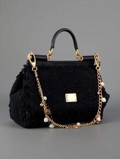 RARE $3140 NEW SS2014 DOLCE&GABBANA TOTE CROCHETED LACE BAG BLACK LUXURY GIFT #DOLCEGABBANA #HANDBAGTOTE