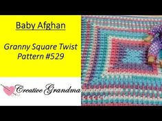Granny Square Twist Baby Afghan Pattern # 529 Crochet Tutorial - TIPS Baby Afghan Patterns, Poncho Knitting Patterns, Baby Afghans, Crochet Blanket Patterns, Baby Knitting, Granny Square Häkelanleitung, Granny Square Crochet Pattern, Crochet Granny, Crochet Baby
