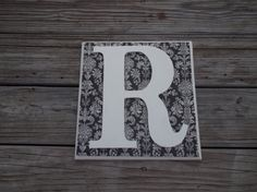 Black & White Damask  Monogram Letters Wood Wall by ReadinginRags, $24.98