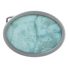 Cyan blue marble stone printed belt buckle. oval belt buckle - blue gifts style giftidea diy cyo