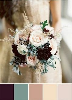 I just love these colors! Plum, sage, blush, cream, nude