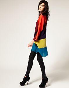 Just Female Tunic Top In Colourblock Stripe