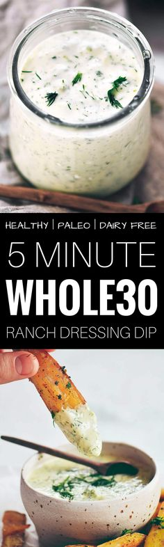 Creamy whole30 ranch dressing dip. Sub vegan mayo