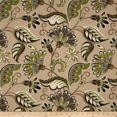 Tempo Indoor/Outdoor Fancy Floral Tan/Green fabric.com #38