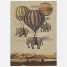 Flight Of The Elephants by Canadian artist Terry Fan, $24, now featured on Fab.