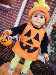 SALEJack+o'+Lantern+Costume+for+American+by+twocutedollclothes