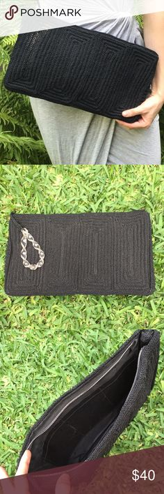 Vintage 50's Black Cord Clutch Purse Lovingly handmade and beautifully finished black cord purse with a great early plastic twist handle toggle. Very clean. Great vintage condition. Classic style and color that goes great with trendy minimalist looks. Please take a look at the photos for better reference. Happy poshing! Vintage Bags Clutches & Wristlets