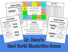 This activity puts students through a simulation where they have a job, salary, expenses and events that occur in order to simulate real life. The students must apply the use of percents, decimals, and positive or negative integers since they track their money through a check book register while traveling around a game board, competing against classmates.What is included?-career, fate, and destiny cards-game board-check book register-simulation outline-teacher notes/hints-student cheat…