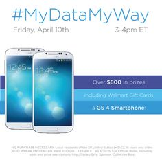 Celebrate spring and get more done with the help of Walmart Family Mobile! Join us on  Friday, April 10, 2015  at 3pm ET for a Twitter party and live sweepstakes, to chat about how to have #MyDataMyWay with the service you need and expect, now with 4G LTE!****Please see Official Rules prior to RSVPing via button at right or by visiting this link: http://cbi.as/3xyi. NO PURCHASE NECESSARY. AD