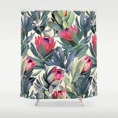 Painted+Protea+Pattern+Shower+Curtain+by+Micklyn+-+$68.00
