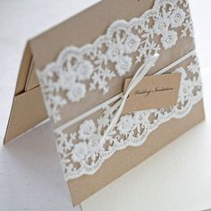 Lace wedding invitations - Rustic wedding invitations -I could even make these myself | http://yourweddingideasplanning.blogspot.com