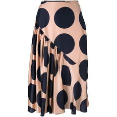 Stella McCartney Large Polka Dot Print Skirt ($880) ❤ liked on Polyvore featuring skirts, pink, silk skirt, stella mccartney skirt, high-waist skirt, shirred skirt and ruched skirt