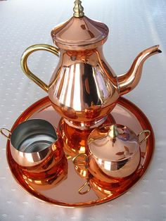 Copper 4 piece Tea set